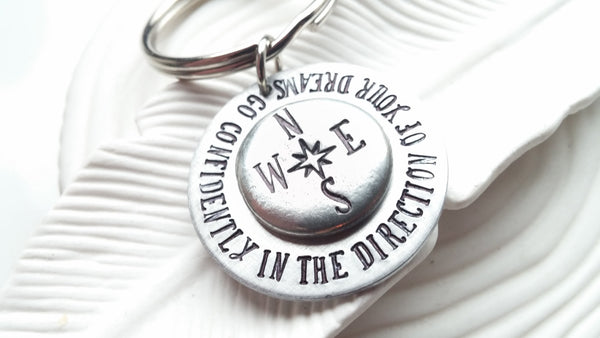 Go Confidently In The Direction Of Your Dreams - Hand Stamped Compass Keychain - Graduation Gift - Motivational -Inspirational Thoreau Quote