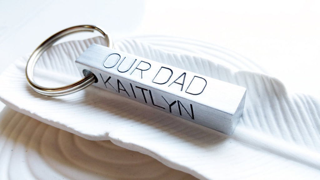 Hand Stamped. Personalized Bar Keychain - Gift for Dad - Father's Day Gift - Personalized Keychain - Stamped Message - Custom Text