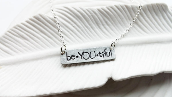 Personalized Jewelry - Bar Necklace - Hand Stamped BeYOUtiful Necklace - Customized Text Bar Necklace - ID Bar - Gift For Her