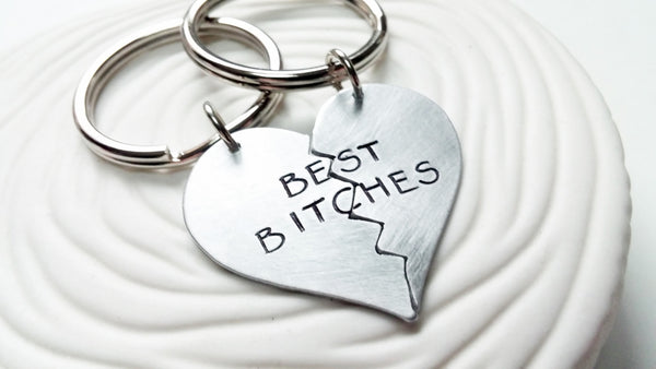 Best Bitches Keychain - Hand Stamped, Personalized Best Friends Keychain - Broken Heart 2 Piece Keychain Set - Gift for Her -Gift for Friend