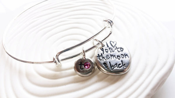 I Love You To the Moon & Back Adjustable Bangle Bracelet -Personalized, Hand Stamped Initial and Birthstone Bracelet -Mother's Day Gift