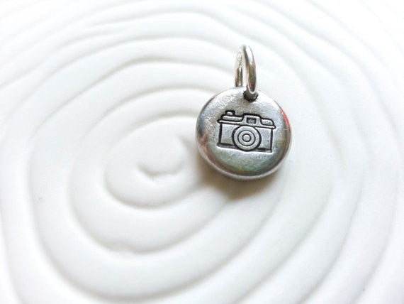 Vintage Camera Charm- Hand Stamped Personalized Necklace Charm