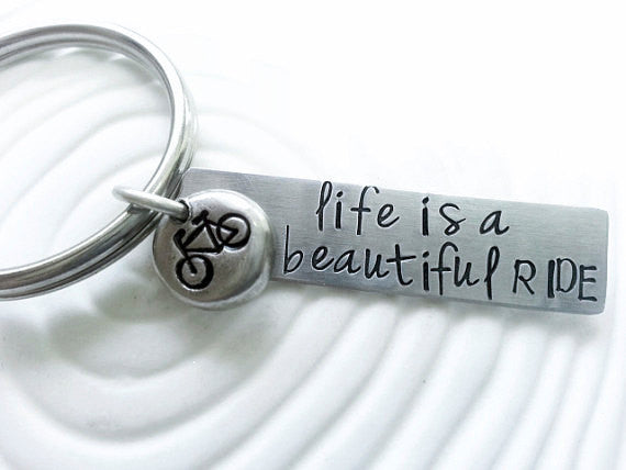 Personalized, Hand Stamped Bicycle Key Chain - Life is a Beautiful Ride Key Ring - Customizable Keychain