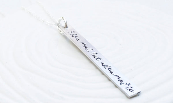 Personalized Bar Necklace - Personalized Jewelry - Hand Stamped Thin Rectangle Bar Necklace - Customized Text - Dainty Bar Necklace