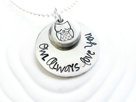Owl Always Love You - Hand Stamped, Personalized Owl Necklace - Layered Necklace Charm - Engraved Necklace - Custom Text/ Design Pendant