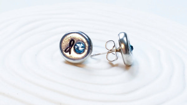 Hand Stamped Personalized Initial Birthstone Stud Earrings - Initial and Birthstone Earrings - Personalized Jewelry - Birthstone Earrings