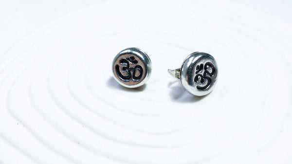 Hand Stamped Personalized Ohm Stud Earrings - Ohm Charm - Personalized Yoga Stamp