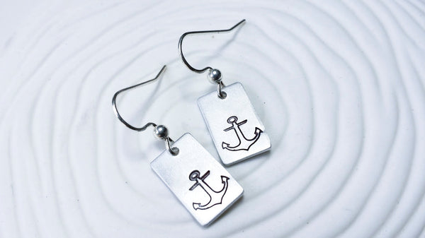 Hand Stamped Anchor Earrings - Nautical Anchor Earrings
