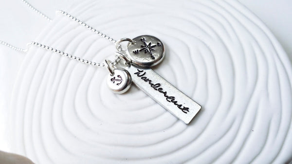 Wanderlust - Hand Stamped Personalized Necklace -Nautical Necklace -Traveler's Necklace - Anchor - Compass - Inspirational Jewelry