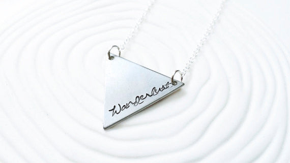 Personalized Jewelry - Hand Stamped Necklace - Triangle Necklace - Customized Text - Bunting Necklace