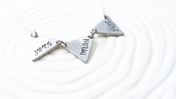 Mother's Necklace - Couples Necklace -Triangle Necklace - Name Necklace - Hand Stamped Jewelry - Bunting Necklace - Personalized Jewelry