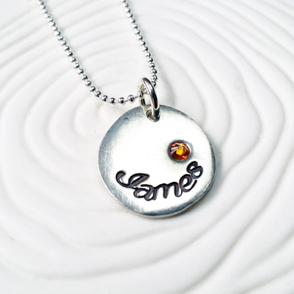 Personalized Jewelry -  Birthstone Name Necklace - Hand Stamped Mother's Birthstone Necklace - Gift for Her - Gift for New Mom -