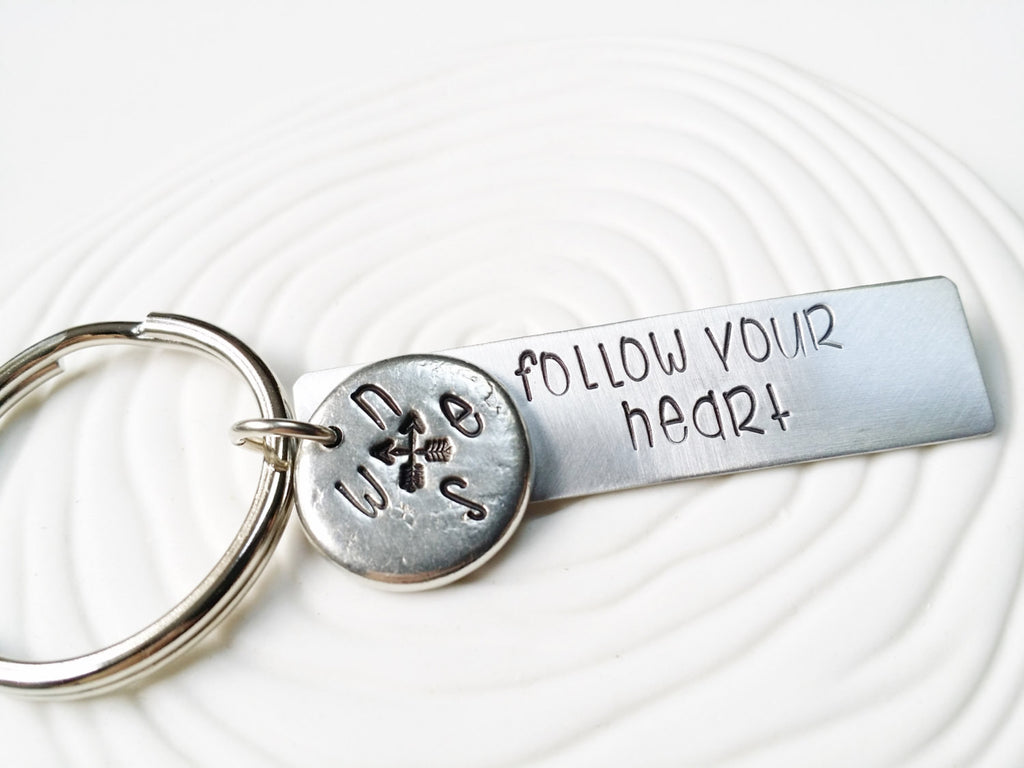 Follow Your Heart - Personalized Keychain - Hand Stamped Personalized Keychain - Inspirational Gift - Motivational Message Keychain
