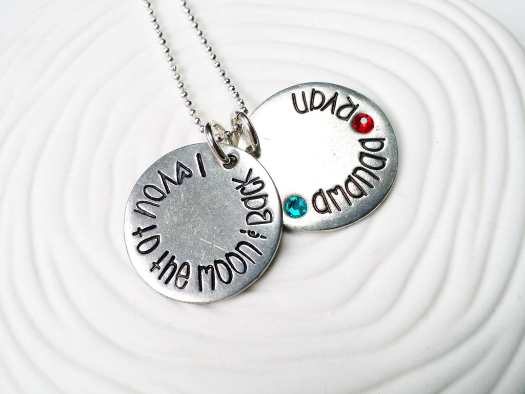 I Love You To The Moon & Back Birthstone Mother's Necklace - Hand Stamped Personalized Jewelry - Mother's Necklace - Gift for New Mom