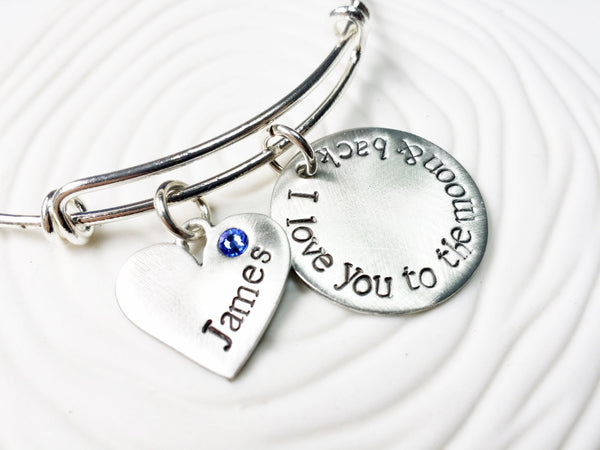 I Love You To The Moon & Back Birthstone Mother's Bracelet - Hand Stamped Personalized Jewelry - Adjustable Bangle - Gift for Her
