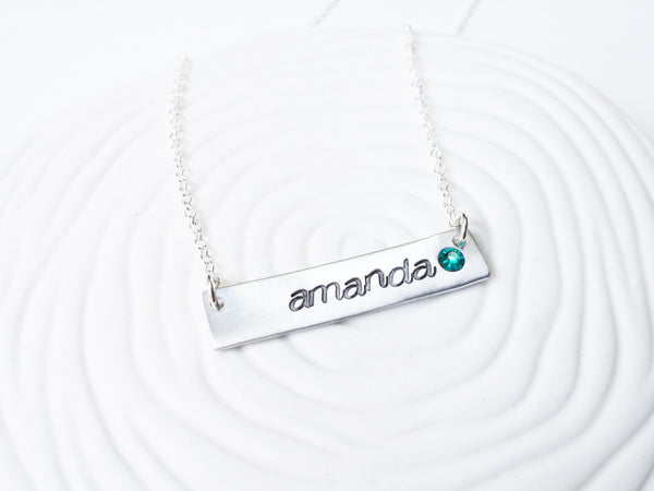 Birthstone Bar Necklace - ID Name Necklace with Birthstone - Personalized ID Bar Necklace - Hand Stamped, Personalized Gift for Her