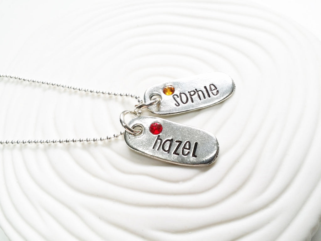 Birthstone Name Necklace - Hand Stamped, Personalized Jewelry - Mother's Necklace - Child's Name Necklace - Gift for Mom - Gift for Grandma