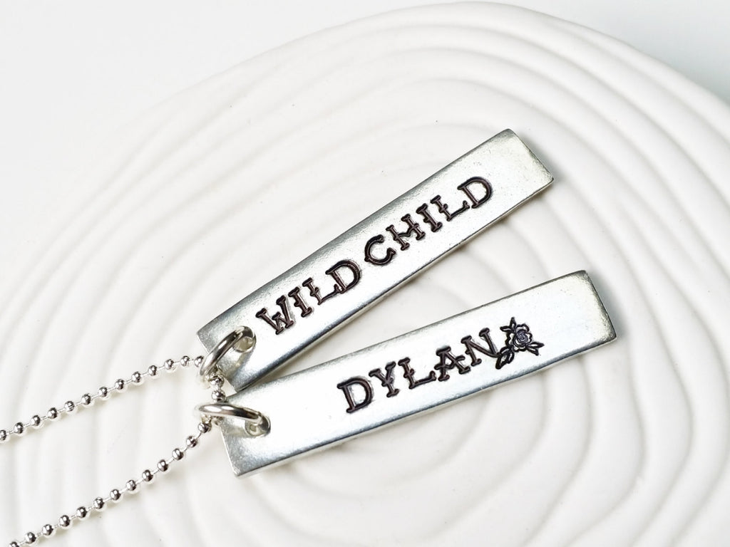 Wild Child - Tattoo Jewelry - Personalized Jewelry - Hand Stamped Mother's Necklace -Tattooed Mom - Inked Jewelry - Tattoo Rose