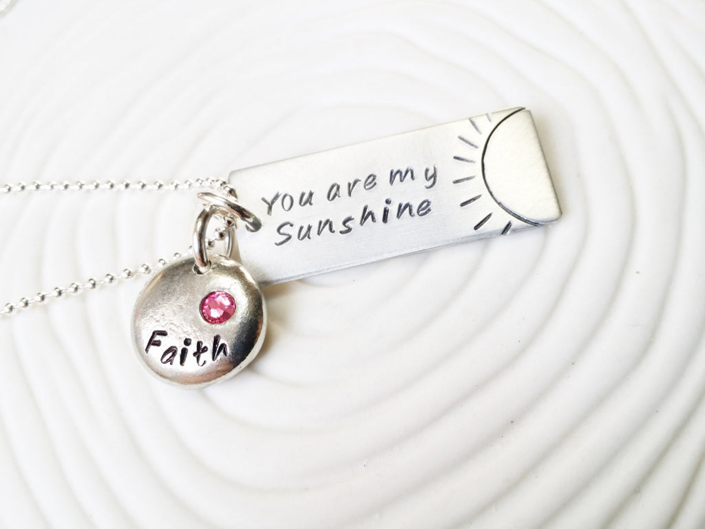 You Are My Sunshine - Hand Stamped, Personalized Jewelry - Name and Birthstone Necklace -Mother's Necklace -Birthstone Jewelry -Gift for Mom