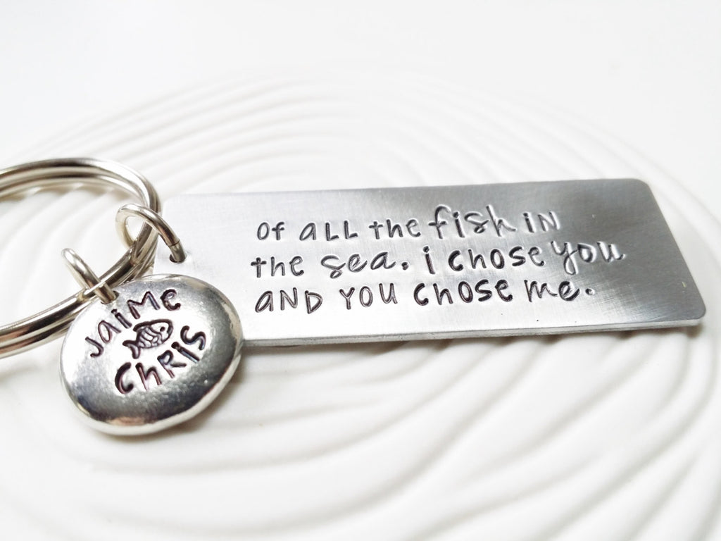 Couples Hand Stamped, Personalized Keychain - Of All The Fish In The Sea - Beach Lover's Keychain - Fish Keychain - Gift for Him -