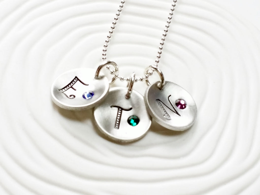 Personalized Jewelry - Hand Stamped Initial and Birthstone Necklace - Disc Necklace - Birthstone Jewelry - Gift for Her - Gift for Mom