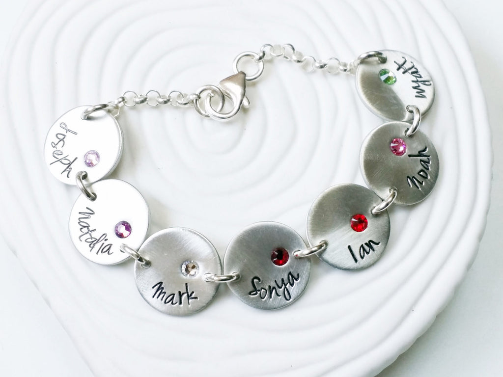 Bracelet - Personalized Hand Stamped Charm Bracelet - Name and Birthstone Mother's or Grandmother's Bracelet - Mother's Day Gift