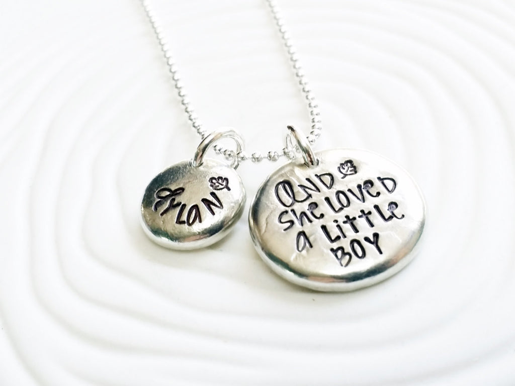 And She Loved A Little Boy- Hand Stamped, Personalized Jewelry - Mother's Necklace - Gift for New Mom -Giving Tree -Shell Silverstein Quote