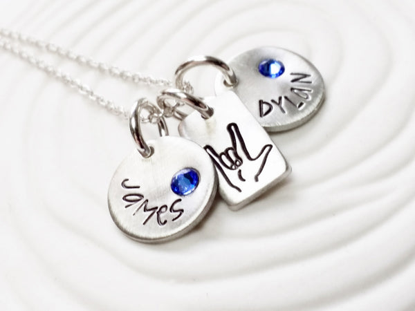 ASL I Love You Necklace - Mother's Necklace - Hand Stamped, Personalized Jewelry - Child's Name Necklace - Gift for Mom - Gift For Her