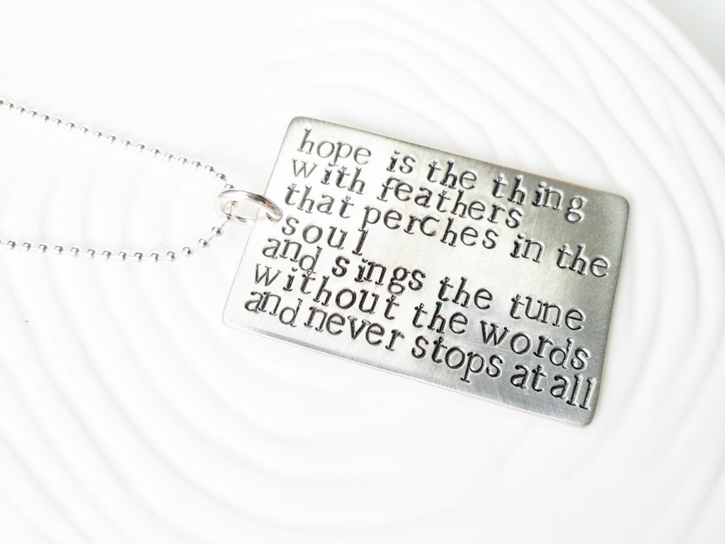 Literary Quote or Poetry Verse - Hand Stamped Personalized Jewelry - Custom Quote Necklace - Personalized Text Necklace - Gift for Her