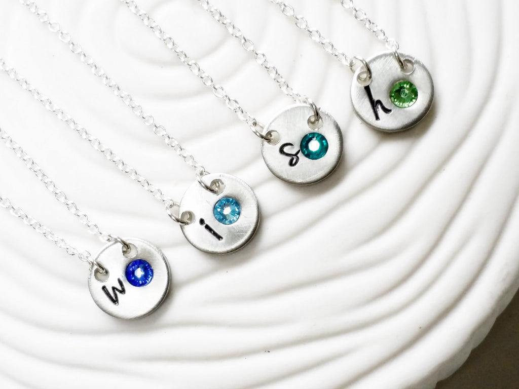 Itty Bitty Birthstone Initial Necklace -Delicate Personalized Jewelry -Dainty Initial Necklace -Mini Initial Birthstone Mother's Necklace