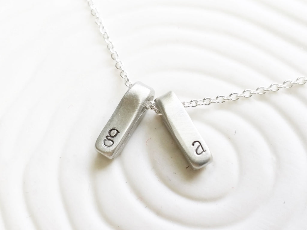 Itty Bitty Jewelry - Delicate Personalized Jewelry - Hand Stamped Dainty Folded Rectangle Necklace - Dainty Initial Necklace - Gift for Her