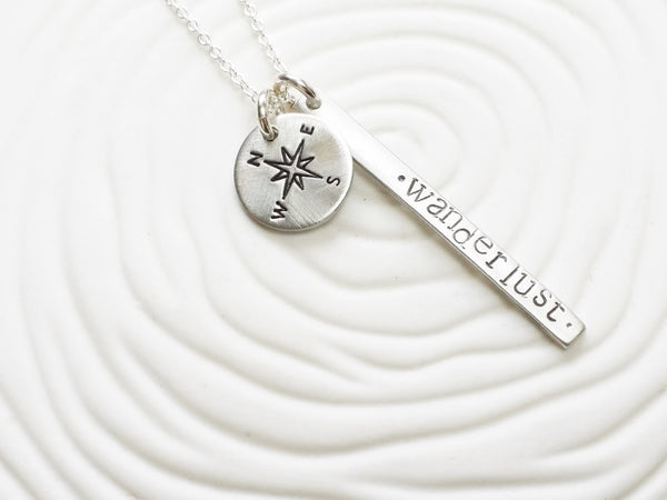 Itty Bitty Jewelry - Wanderlust Necklace - Compass Necklace - Dainty Hand Stamped Personalized Jewelry - Traveler's Necklace - Inspirational