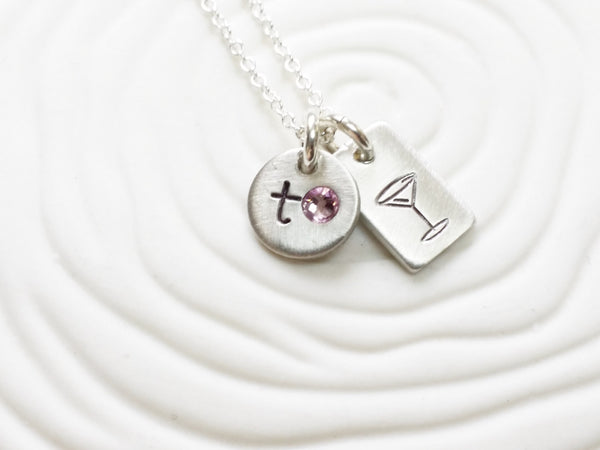 Itty Bitty Jewelry - Bachelorette Party Necklace - Personalized Birthstone Necklace - Initial Necklace - Martini Necklace - Girls Night Out