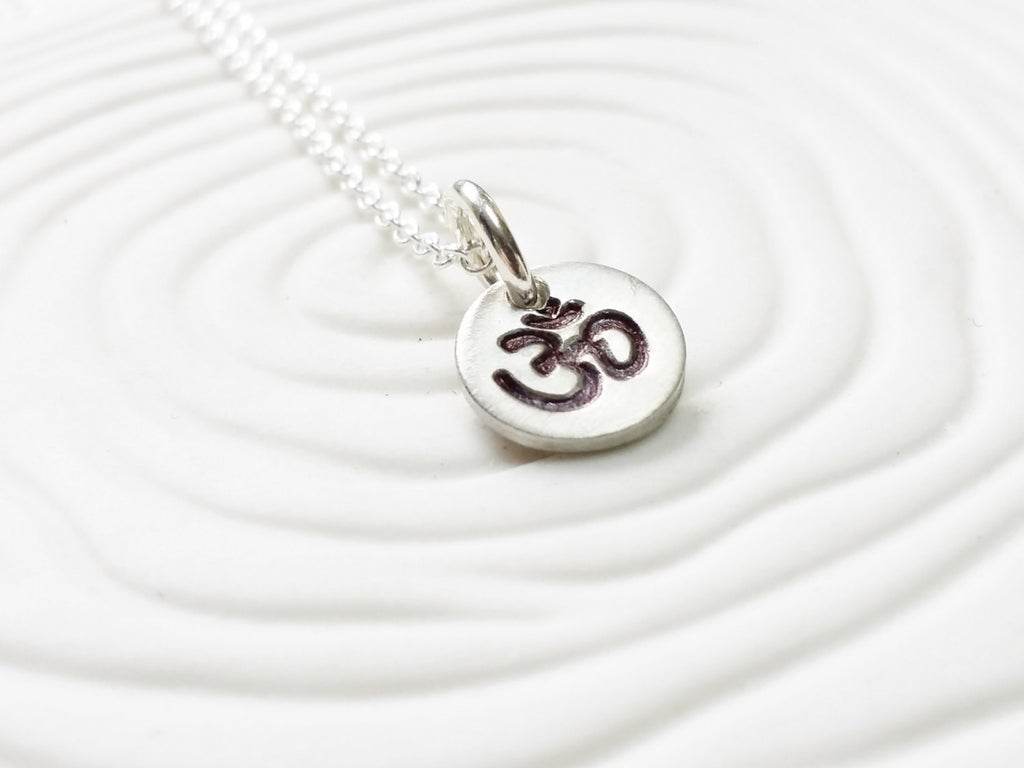 Itty Bitty Jewelry - Hand Stamped Ohm or Image Necklace - Dainty Disc Necklace - Yoga Jewelry - Tiny Disc Necklace - Gift for Her -