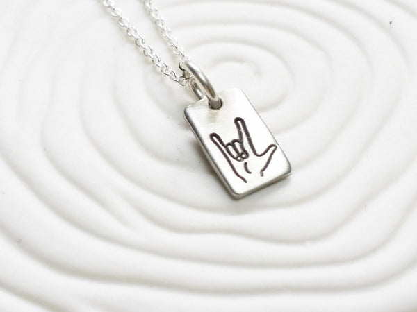 Itty Bitty Jewelry - Hand Stamped I Love You or Image Necklace - Dainty Tag Necklace -Sign Language - Delicate Tag Necklace - Gift for Her -