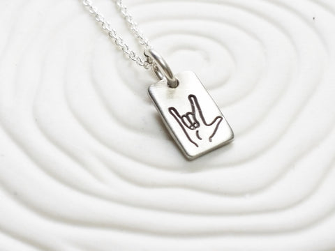 Itty Bitty ASL I Love You | Rectangle Tag Necklace