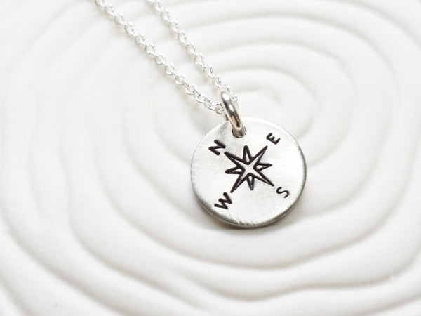 Itty Bitty Jewelry - Hand Stamped Compass or Image Necklace - Dainty Disc Necklace -Traveler's Neckace - Tiny Disc Necklace - Gift for Her -