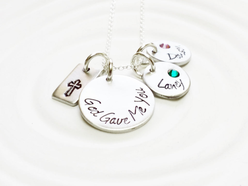 God Gave Me You - Personalized Jewelry - Birthstone Child's Name Necklace- Hand Stamped Jewelry - Mother's Necklace - Cross - Crucifix