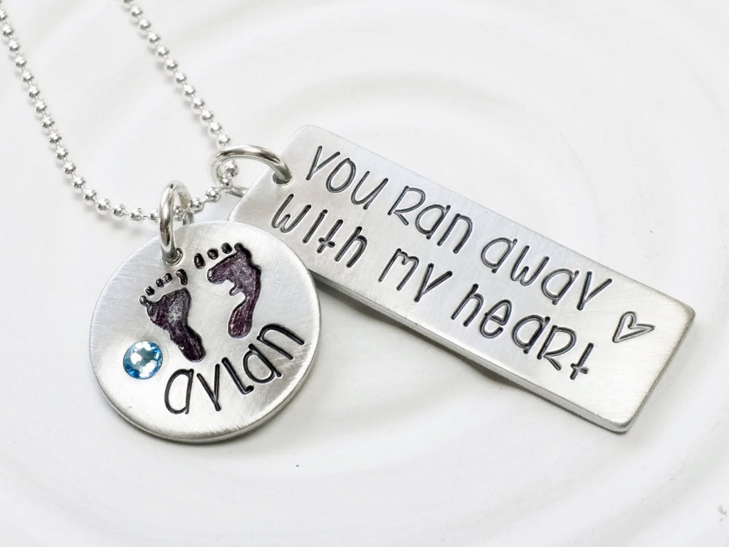 You Ran Away With My Heart - Baby Name Necklace - Baby Footprint Necklace - Mother's Necklace- Hand Stamped Personalized Jewelry