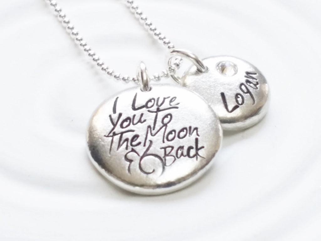 I Love You To The Moon and Back Personalized Necklace - Child's Name and Birthstone Necklace - Personalized Jewelry - Mother's Necklace