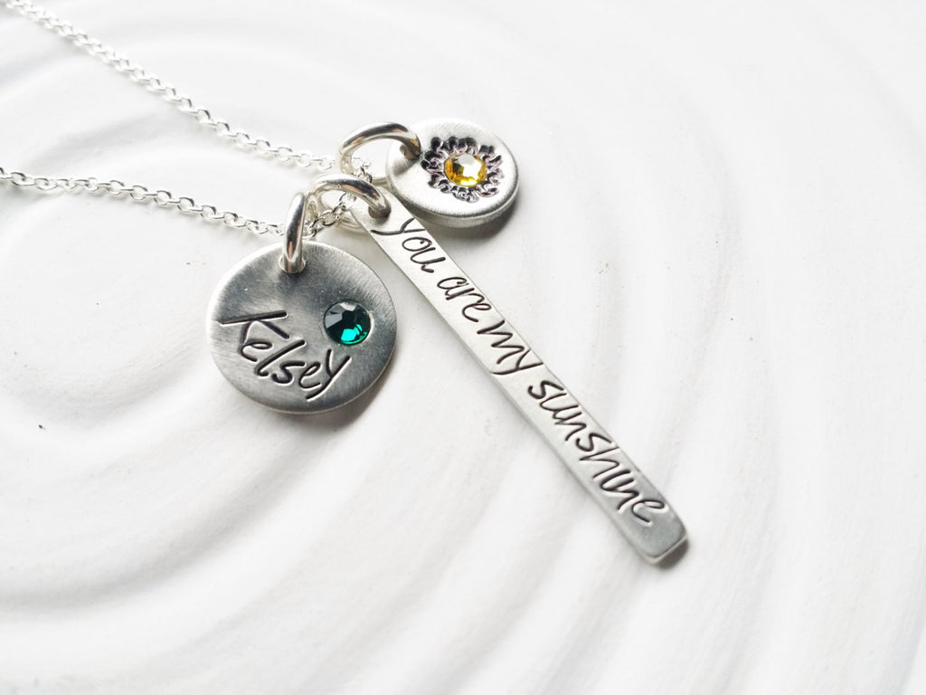 Itty Bitty Collection -You Are My Sunshine - Hand Stamped Birthstone Mother's Necklace -Personalized Jewelry -Mother's Jewelry -Gift for Mom