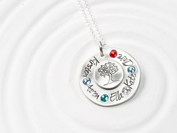 Family Tree Necklace - Personalized Jewelry - Grandmother's Necklace - Mother's Necklace - Hand Stamped Birthstone Jewelry - Gift for Her