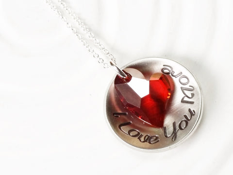 I Love You More | Red Swarovski Heart Necklace