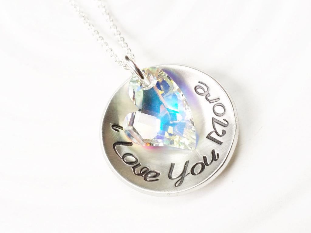 Personalized Jewelry - I Love You More Heart Necklace - Hand Stamped Crystal Heart Necklace - Gift for Her - Valentine's Day Gift