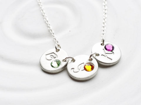 Itty Bitty Birthstone Initial Necklace | Minimalist Design