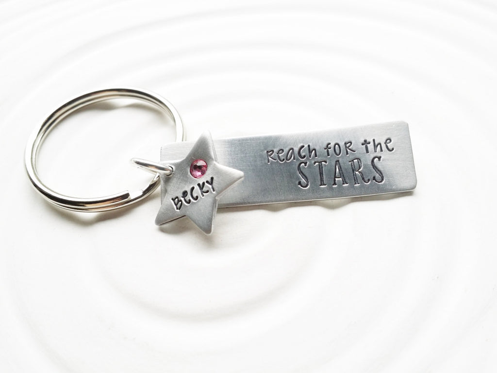 Reach for the Stars - Hand Stamped, Personalized Keychain - Inspirational Gift - Star Keychain - Birthstone and Name Keychain - Gift for Her