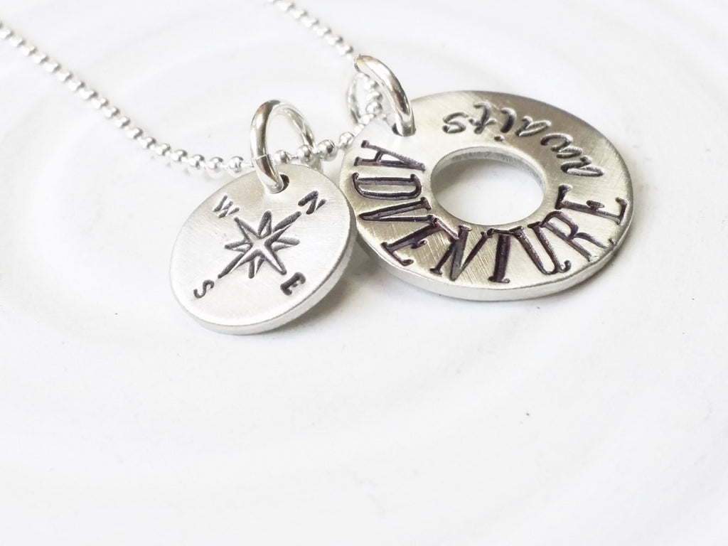 Adventure Awaits Compass Necklace - Traveler's Necklace - Gift for Traveler - Graduation Gift - Motivational - Inspirational Jewelry