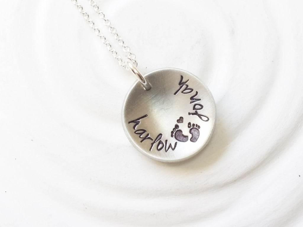 Personalized Mother's Necklace - Hand Stamped Twins Necklace - Baby Feet Necklace - Gift for New Mom - Two Name Necklace - Gift for Her