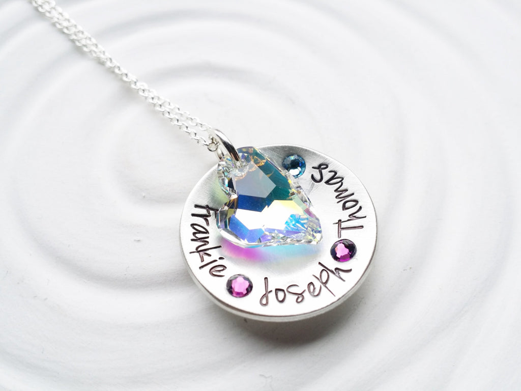 Birthstone Mother's Necklace - Heart Necklace - Personalized Jewelry -Hand Stamped Child's Name Necklace -Grandmother Necklace -Gift for Mom