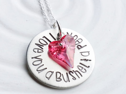 I Love You a Bushel & a Peck | Statement Swarovski Heart | Choice of Colors